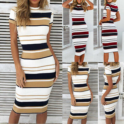 AU Sexy Womens Bodycon Striped Holiday Summer Ladies Midi Dress Sundress Party