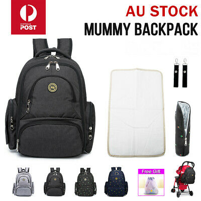 LUXURY Waterproof Large Mummy Nappy Diaper Bags Travel Changing Baby Backpack AU