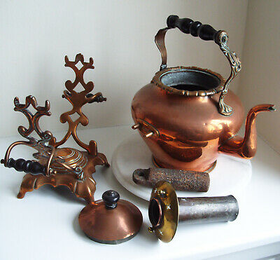 Large Victorian Copper/Bras kettle with a Iron Heater mounted on stand 41cm Tall
