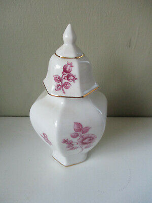"""Hollohaza Hungary small 5.1/2"""" Ginger Spice Jar & Lid - Pink Floral pattern"""