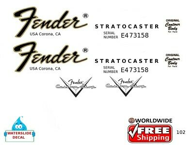 Fender Stratocaster Guitar Decal Headstock Inlay Restoration Logo 102