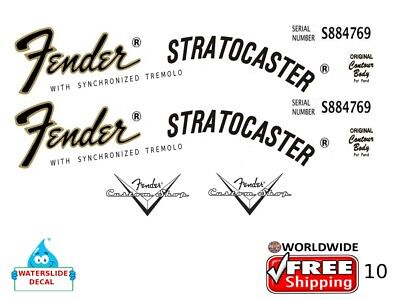 Fender Stratocaster Guitar Decal Headstock Inlay Decal Restoration Logo 10