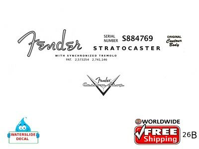 Fender Stratocaster Guitar Decal Headstock Inlay Decal Restoration Logo 26b