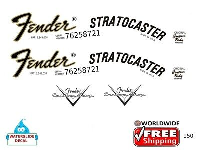 Fender Stratocaster Guitar Decal Headstock Inlay Restoration Logo 150