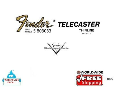 Fender Telecaster Guitar Decal Headstock Inlay Restoration Logo Inlay 184b