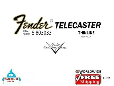 Fender Telecaster Thinline Guitar Decal Headstock Inlay Restoration Inlay 186b