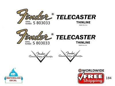 Fender Telecaster Thinline Guitar Decal Headstock Inlay Restoration Logo 184