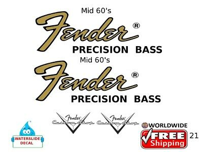Fender Precision Bass Guitar Decal Headstock Inlay Decal Restoration Logo 21