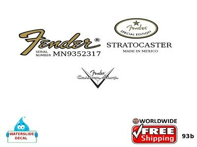 Fender Stratocaster Guitar Mexico Headstock Decal Restoration Waterslide 93b