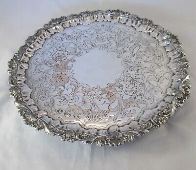 A Good Old Sheffield Plate Tray c1830 Engraved Flowers