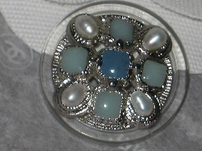 Chanel  Metal Cc Logo Front  Green Glass Pearl Button  22 Mm /  1'' New