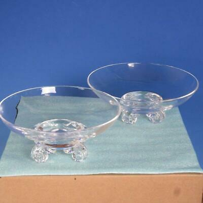 Signed Steuben Crystal Art Glass - Pair of Footed Bowls - 7¾ and 8 inches
