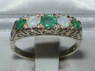 Luxury Solid Sterling Silver Natural Emerald & Opal Victorian StyleEternity Ring