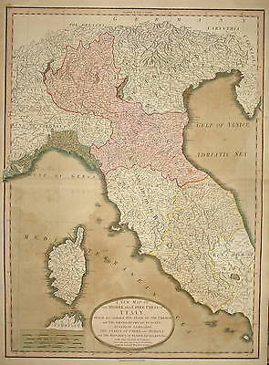 A New Map Of The Middle And Upper Parts Of Italy By Laurie & Whittle 1799