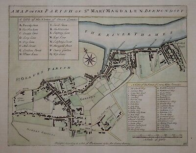 A Map Of The Parish Of St Mary Magdalen Bermondsey, 1720.