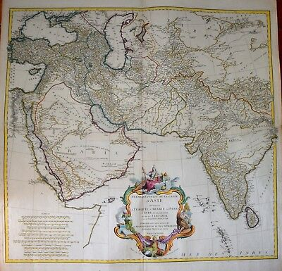 Large Wall-Map Of Arabia And India By D'anville, 1751.