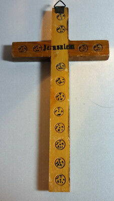 Mexican Cross Wood Tin Stamped Jerusalem Primitive Art Mexico Vintage Hand Made
