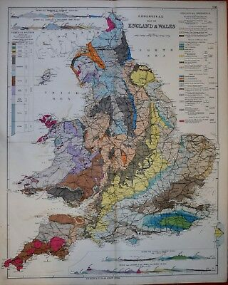 Geological Map Of England And Wales. Bacon Circa 1890.