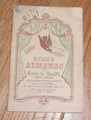 1869 Antique  Rush's Almanac and Guide to Health Quack Medicine Advertising