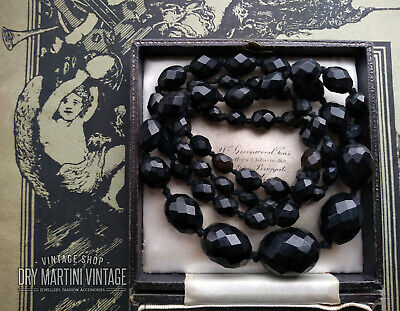 Antique Victorian Vulcanite Faux Whitby Jet Beads Long Mourning Necklace