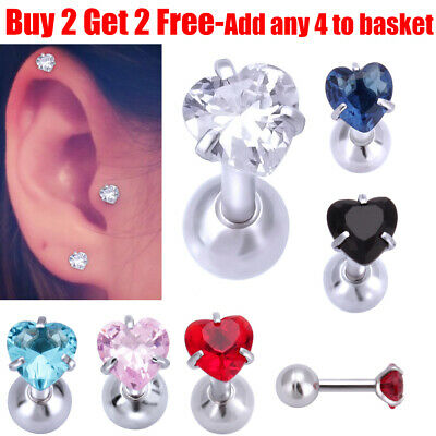 Surgical Steel Heart Crystal Daith Tragus Stud Cartilage Helix Stud Bar Earrings