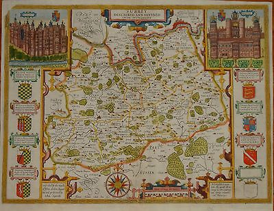 Surrey Described And Divided Into Hundreds By John Speed.1627.
