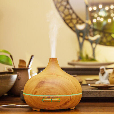 SMART Oil Diffusers humidifier Aromatherapy 300ml LED Timer mist wood grain Auto