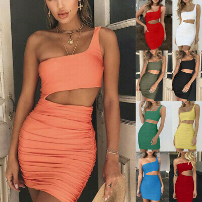 Sexy Women One Shoulder Dress Sleeveless Evening Party Club Bodycon Dress CA
