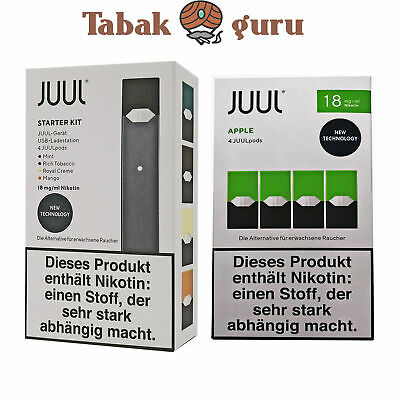 JUUL Starter-Kit mit 4 JUULpods Inkl. 4 JUUL pods Apple 18mg