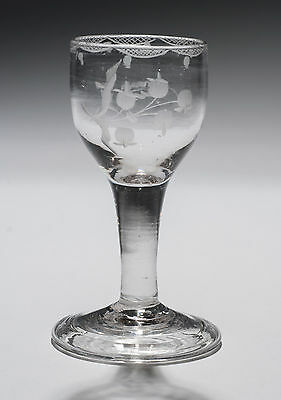 Antique Georgian Plain Stem Wine Glass with Folded Foot & Etched Bowl c1770