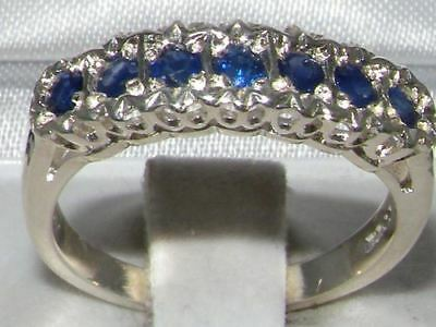 Solid English Sterling Silver  Natural Sapphire Victorian StyleEternity  Ring
