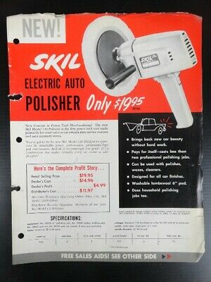 50's Vintage Collectible SKIL ELECTRIC AUTO POLISHER 2 Pg Colored Advertisement