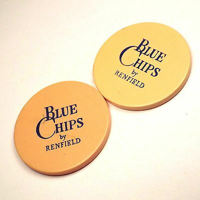 Lot of 2 Vintage BLUE CHIPS by RENFIELD Poker Casino Chips Cream color