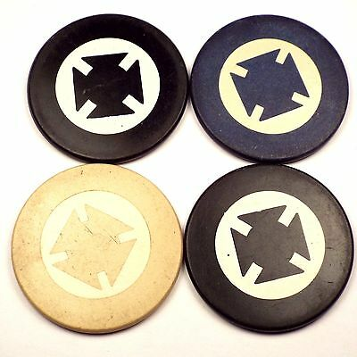 Lot 4 Antique Clay Poker Casino Chips Interesting Design Green Black/Blue/White