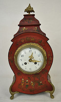 Neuchatel Mantle Clock Boulle Hand Painted Chinese Asian Antique