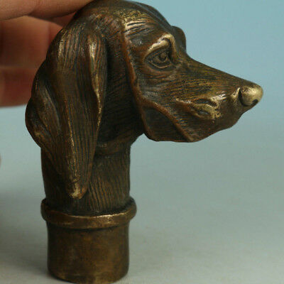 Antique Victorian Walking Stick handle with Bronze Dog Head Walking Stick handle