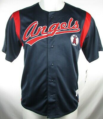 d5c3d62065c Los Angeles Angels Men s Navy S S Dynasty Embroidered Baseball Jersey MLB  L
