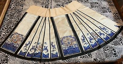 Antique Chinese Qing Dynasty Hand Embroidery Skirt Gold Threaten Dragon