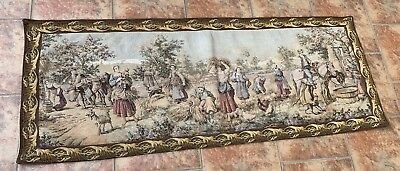 Antique French Tapestry Wall Hanging Aubusson Style - 55 By 143 Cm