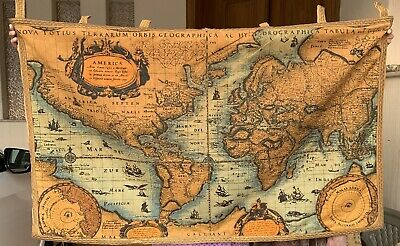Antique French Tapestry Wall Hanging Aubusson Style World Map 80 By 122 Cm