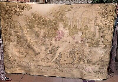 Huge Antique French Aubusson Style Wall Hanging Tapestry - 130 X 186 Cm