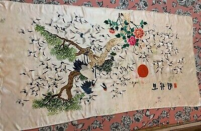 """Antique Chinese Qing Dynasty Hand Embroidery Panel Wall Hanging 30"""" X 56"""""""