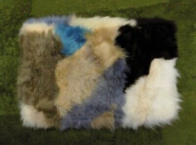 GENUINE MULTI COLOURED SHEEPSKIN RUG NURSERY, SEAT, PET BEDDING, MAT 51 x 33cm