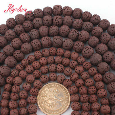 "6,8,10,12,14mm Natural Round  Brown Lava Rock Volcanic Stone Loose Beads 15""DIY"