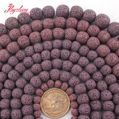 "6,8,10,12,14mm Natural Round Purple Lava Rock Volcanic Stone Loose Beads 15""DIY"