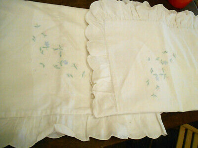 Vintage Pair Pillowcase Frilly Floral Embroidery White Cotton Scallop Pink Blue