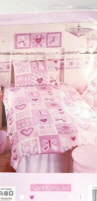 NEW Kids girls pink patchwork reversible single bedding set quilt cover pillow