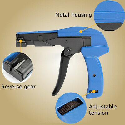 Cable Tie Gun Fasten Handheld Chrome Steel Tool Tensioning Cutting Nylon Wires