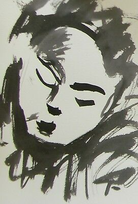 Jose Trujillo Abstract Expressionism Ink Wash Face Minimalist Portrait Signed