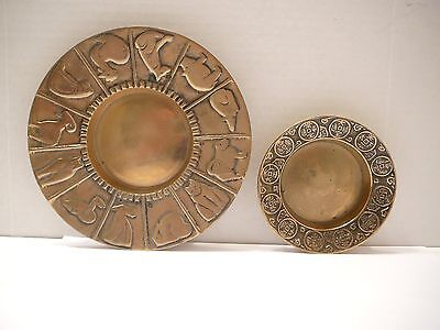 2 Vintage Korean Brass Zodiac Bowls Chinese Characters & Animals Cat Pig Rat Dog